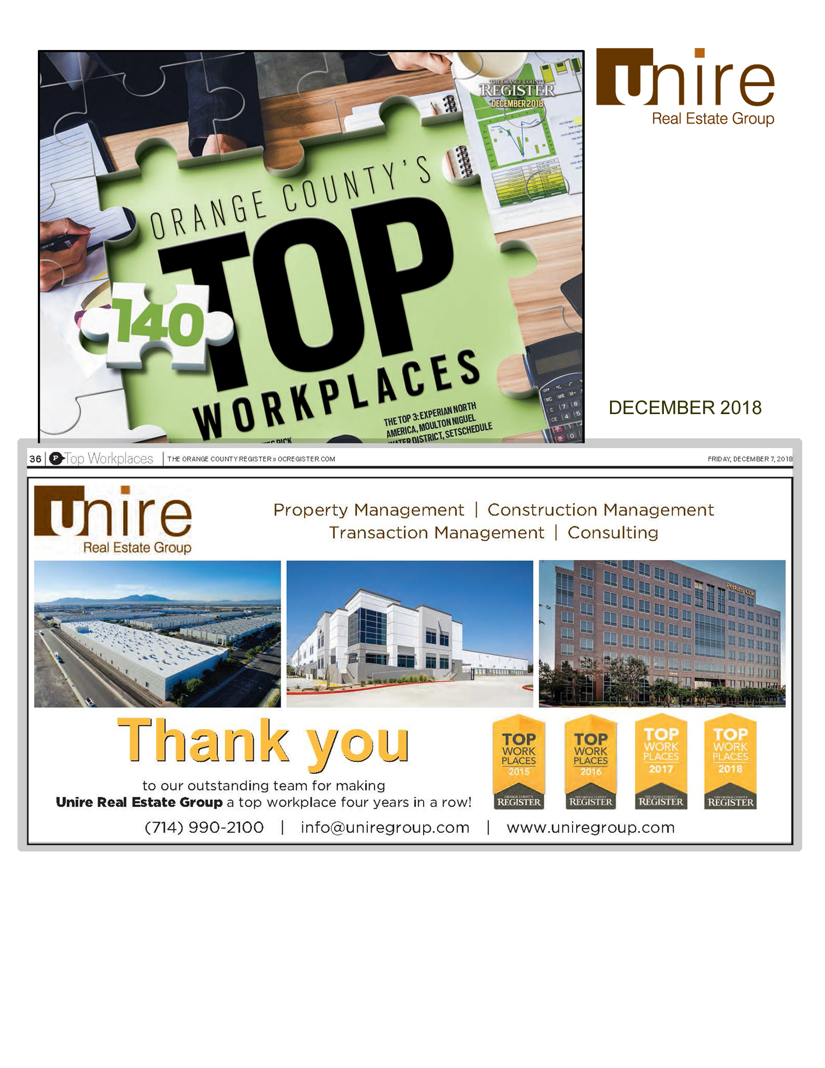 Unire Group Awarded Best Workplaces in Orange County for 4th Year in a row!